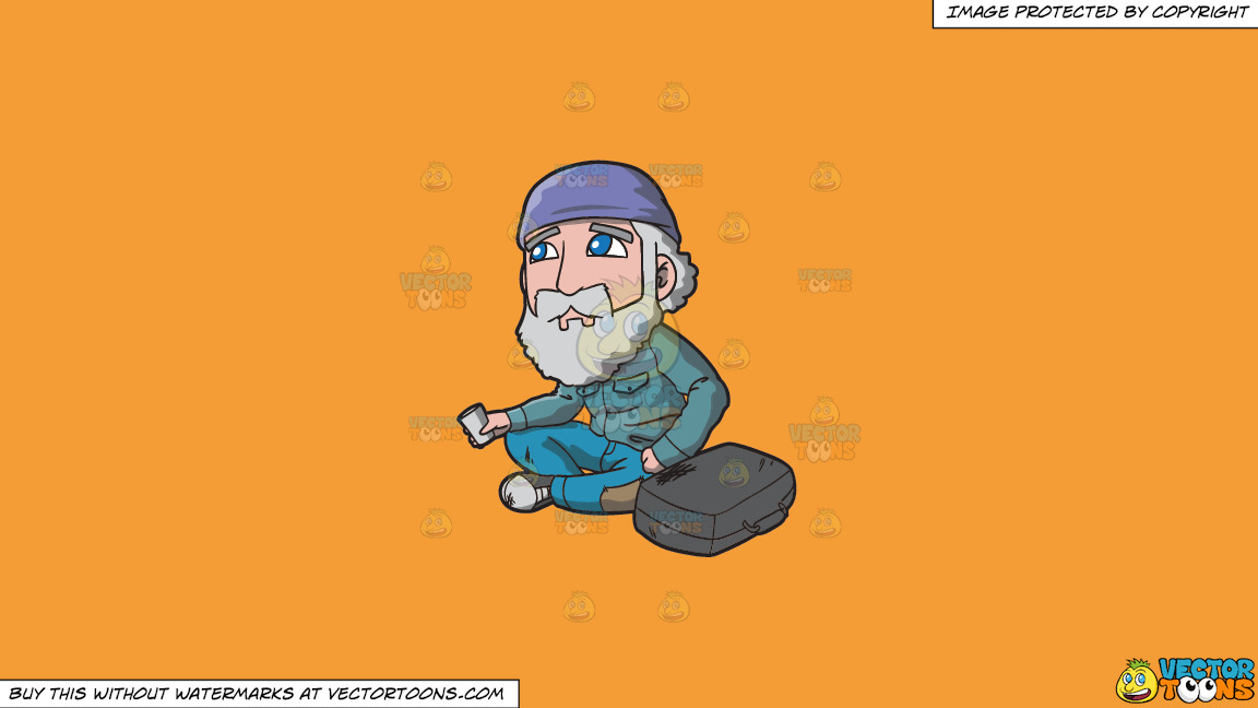 A Sad Old Man Begging For Coins In The Street On A Solid Deep Saffron Gold F49d37 Background thumbnail