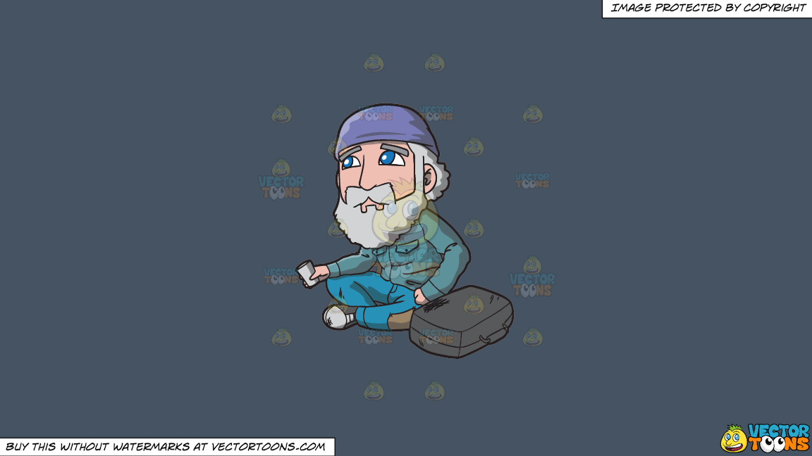 A Sad Old Man Begging For Coins In The Street On A Solid Metal Grey 465362 Background thumbnail