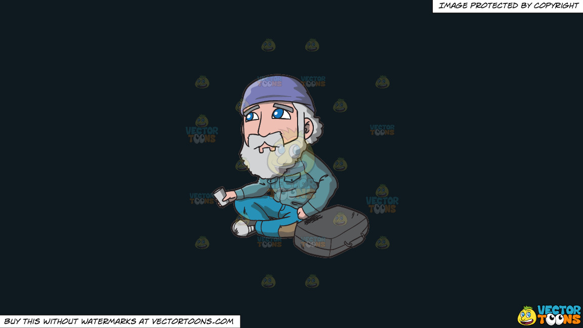 A Sad Old Man Begging For Coins In The Street On A Solid Off Black 0f1a20 Background thumbnail