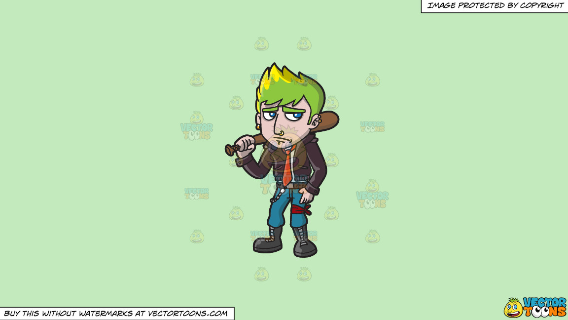 A Sad Punk With A Bat On A Solid Tea Green C2eabd Background thumbnail