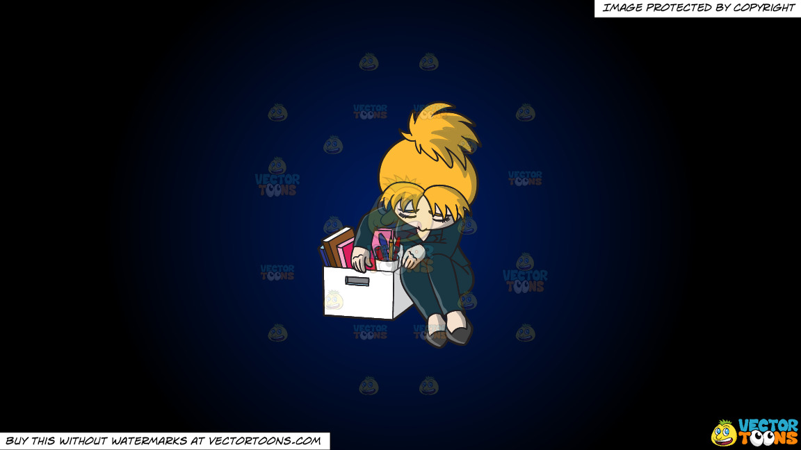 A Sad Woman Sitting Slumped Over Her Box Of Things After Getting Fired From Her Job On A Dark Blue And Black Gradient Background thumbnail
