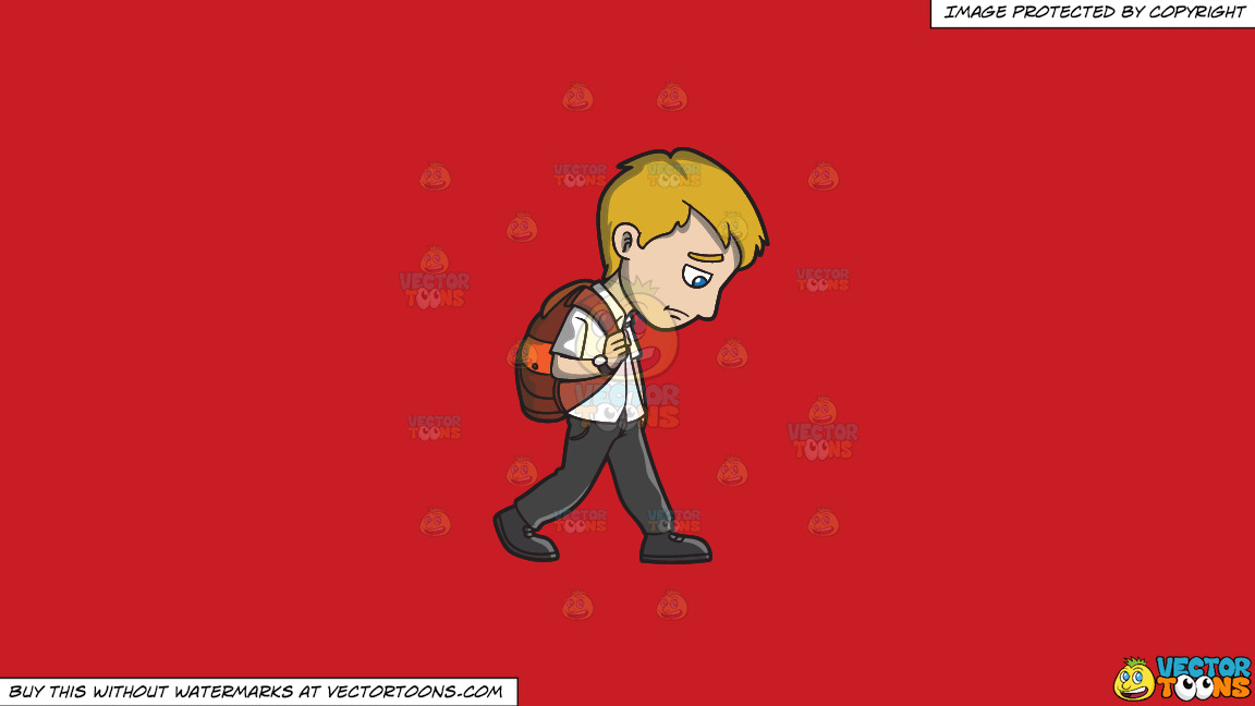 A Sad Young Man Walking Home From Work On A Solid Fire Engine Red C81d25 Background thumbnail