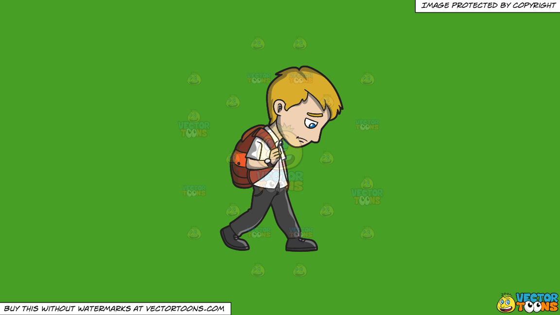A Sad Young Man Walking Home From Work On A Solid Kelly Green 47a025 Background thumbnail