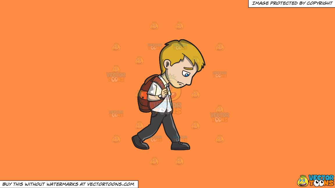 A Sad Young Man Walking Home From Work On A Solid Mango Orange Ff8c42 Background thumbnail