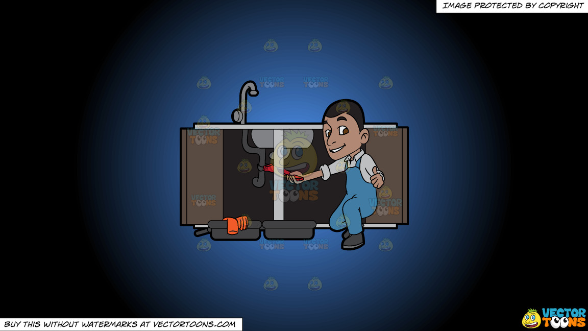 A Satisfied Plumber Fixing A Kitchen Sink On A Blue And Black Gradient Background thumbnail