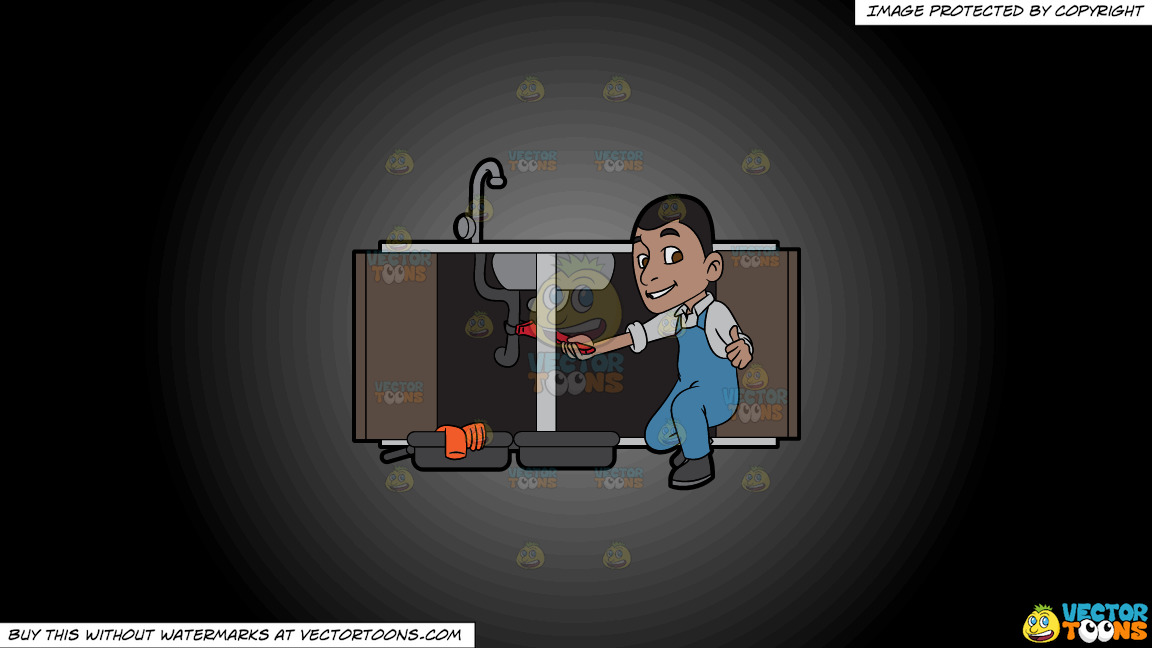 A Satisfied Plumber Fixing A Kitchen Sink On A Grey And Black Gradient Background thumbnail