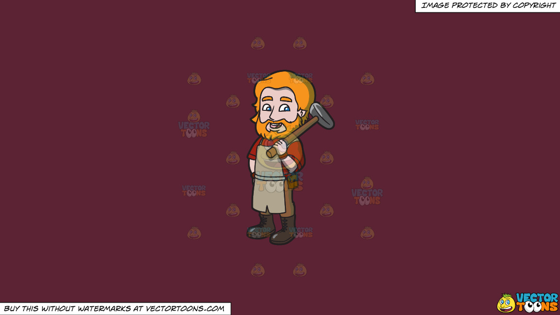 A Saxon Blacksmith On A Solid Red Wine 5b2333 Background thumbnail