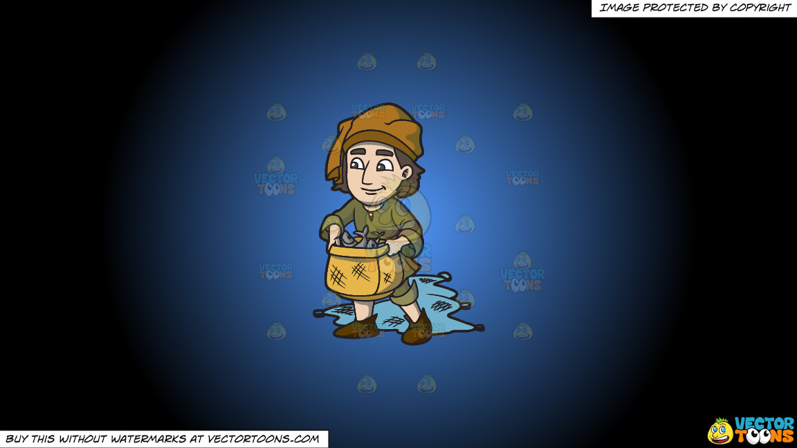 A Saxon Fisherman On A Blue And Black Gradient Background thumbnail
