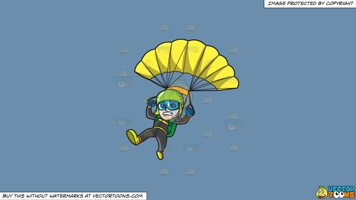 A Scared Male Skydiver On A Solid Shadow Blue 6c8ead Background thumbnail