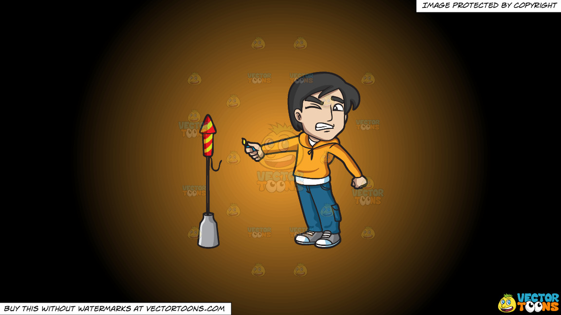 A Scared Man Trying To Light A Rocket Firecracker On A Orange And Black Gradient Background thumbnail