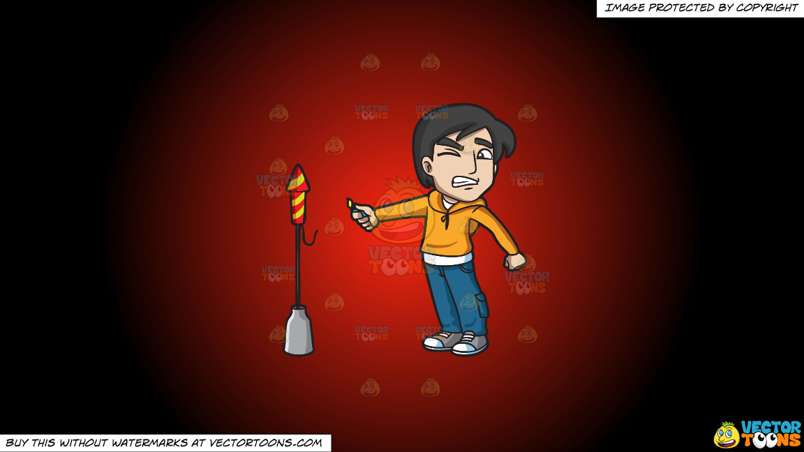 A Scared Man Trying To Light A Rocket Firecracker On A Red And Black Gradient Background thumbnail