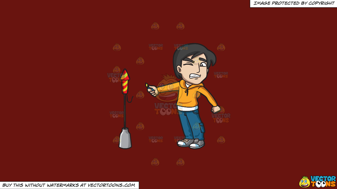 A Scared Man Trying To Light A Rocket Firecracker On A Solid Maroon 69140e Background thumbnail