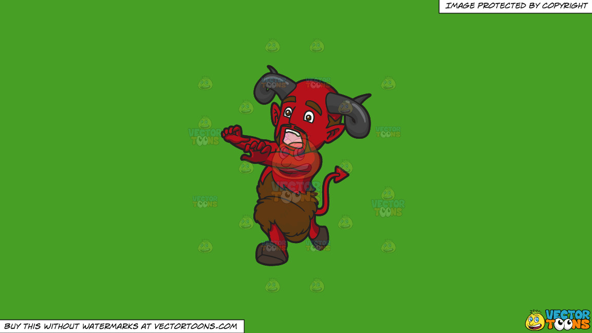 A Scared Red Devil Running Away On A Solid Kelly Green 47a025 Background thumbnail