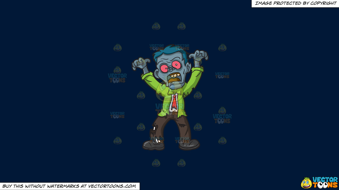 A Scary Looking Zombie On A Solid Dark Blue 011936 Background thumbnail