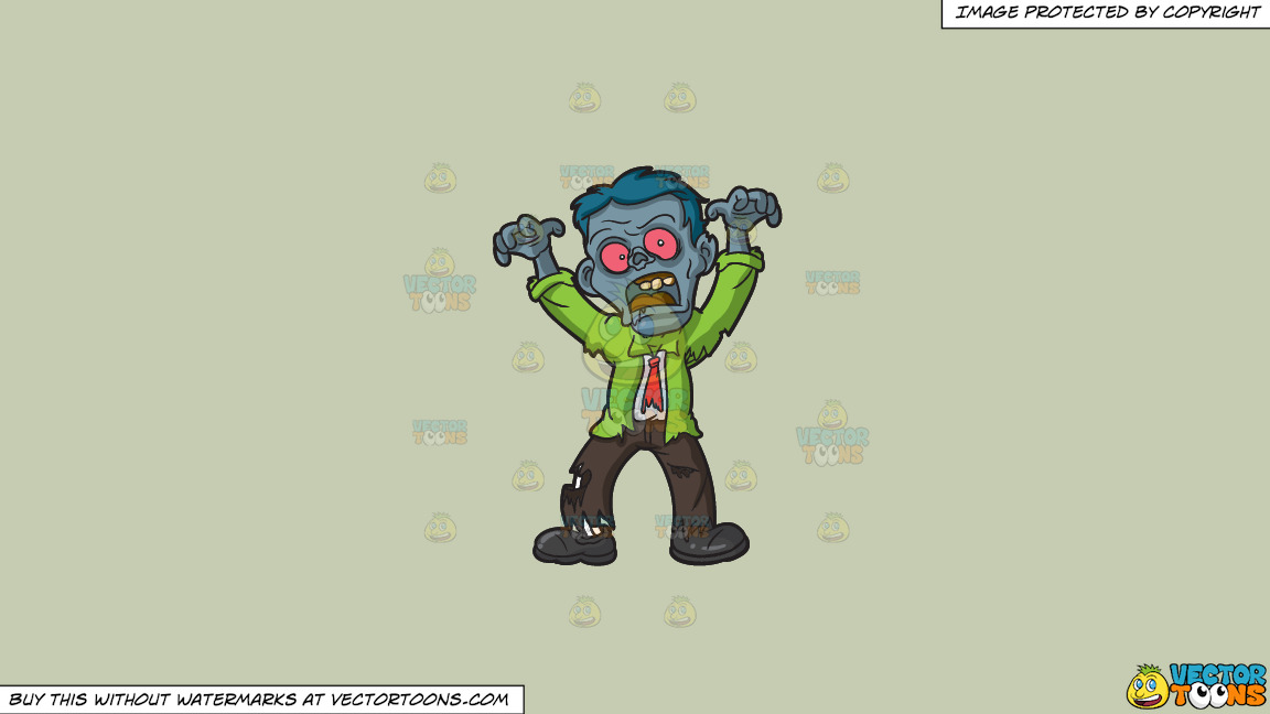 A Scary Looking Zombie On A Solid Pale Silver C6ccb2 Background thumbnail
