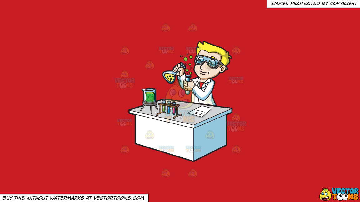 A Scientist Creating A Chemical Reaction On A Solid Fire Engine Red C81d25 Background thumbnail