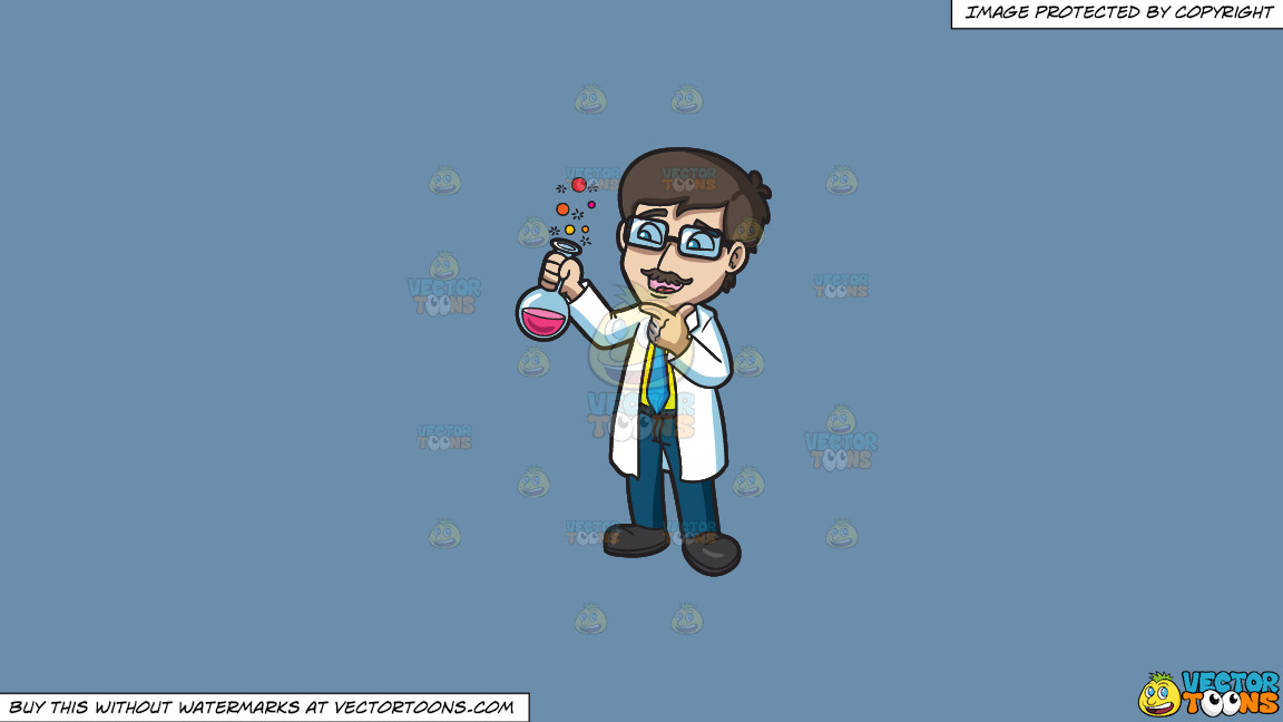 A Scientist Looking At The Reacting Chemicals On A Solid Shadow Blue 6c8ead Background thumbnail
