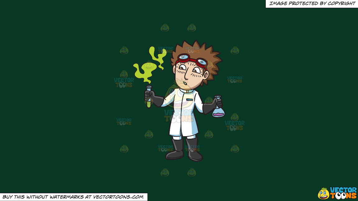 A Scientist Observing A Fuming Chemical On A Solid Dark Green 093824 Background thumbnail