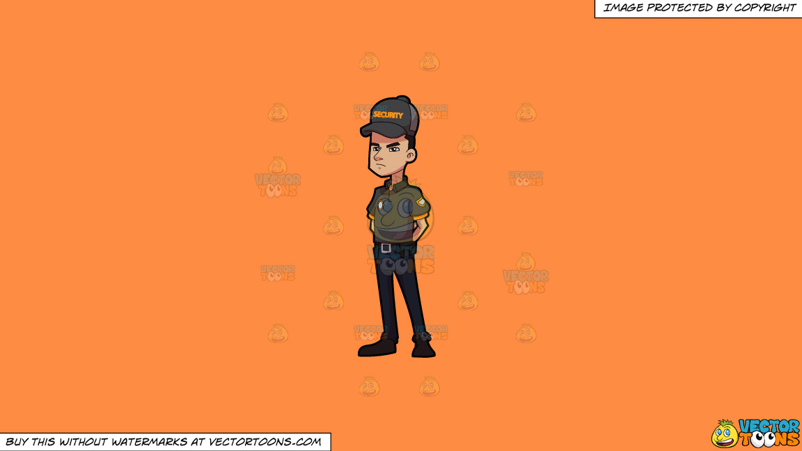 A Security Guard At Ease On A Solid Mango Orange Ff8c42 Background thumbnail