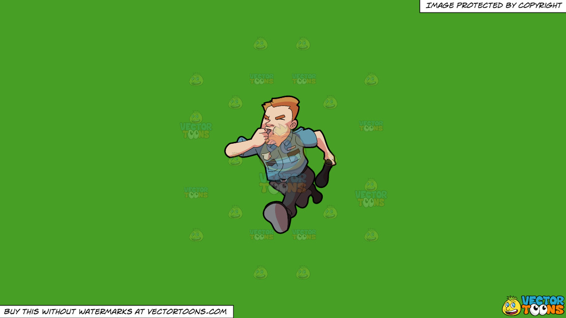 A Security Guard Running After Some Burglar On A Solid Kelly Green 47a025 Background thumbnail
