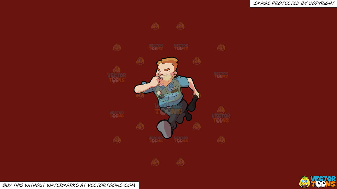 A Security Guard Running After Some Burglar On A Solid Maroon 69140e Background thumbnail