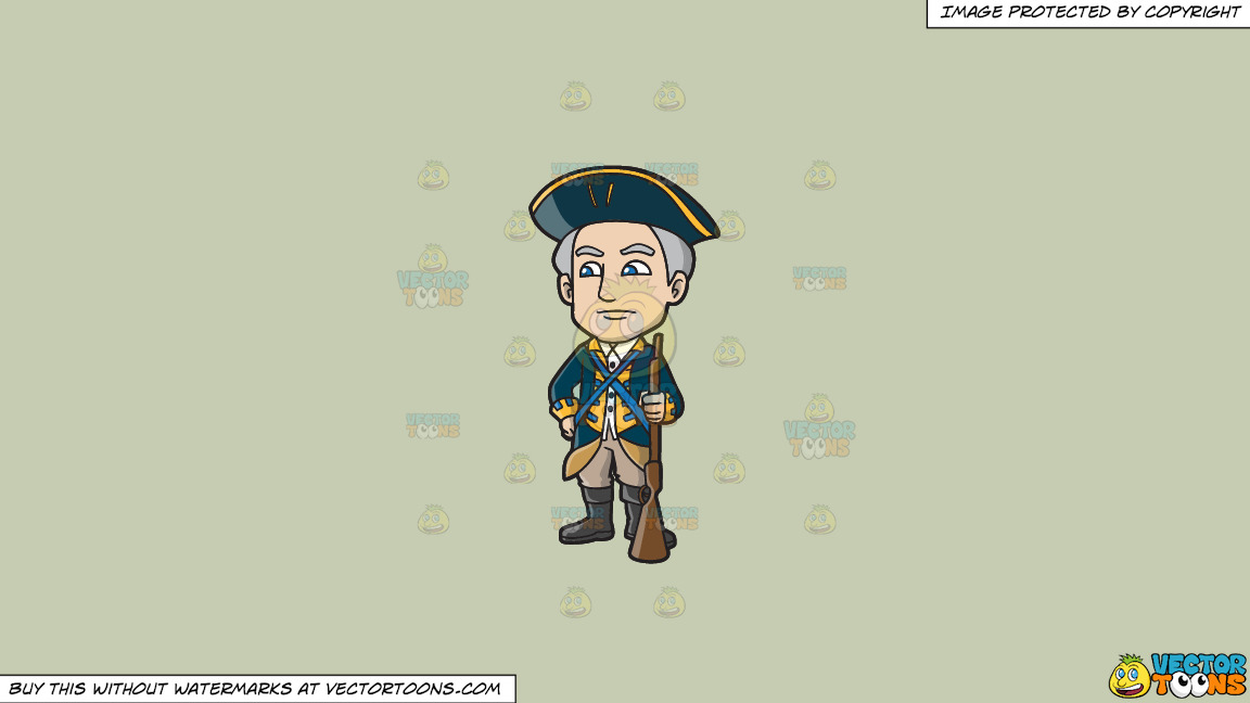 A Senior 18th Century Military Officer On A Solid Pale Silver C6ccb2 Background thumbnail