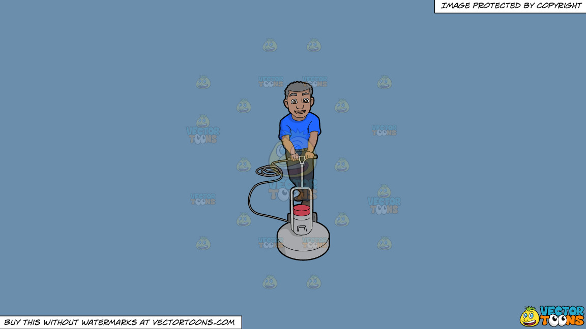 A Senior Black Janitor Buffing The Floor To Shine On A Solid Shadow Blue 6c8ead Background thumbnail