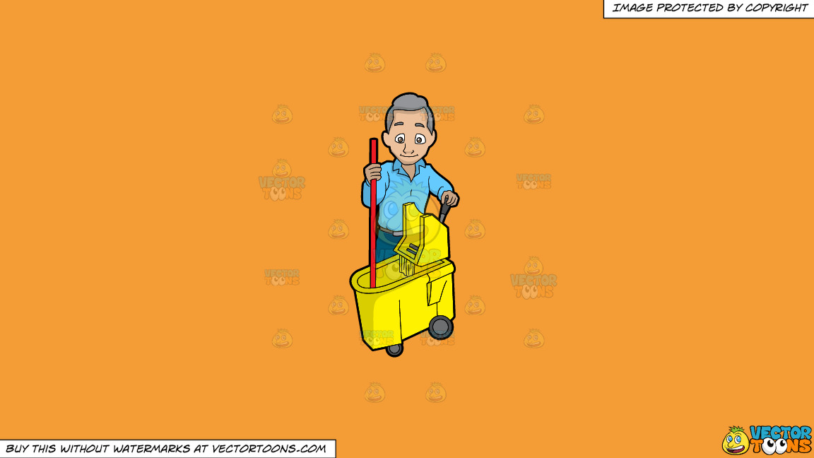 A Senior Janitor Wringing A Mop On A Solid Deep Saffron Gold F49d37 Background thumbnail