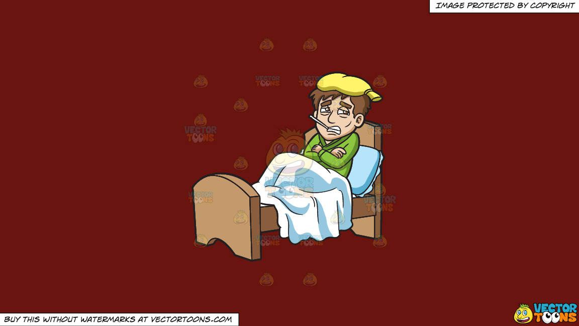 A Shivering Sick Guy Resting In Bed On A Solid Maroon 69140e Background thumbnail