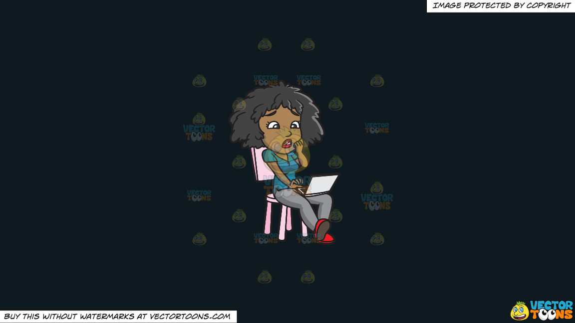 A Shocked Black Woman Reading Bad News On The Internet On A Solid Off Black 0f1a20 Background thumbnail