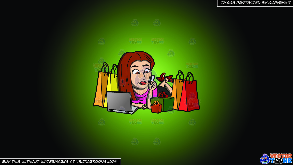 A Shopaholic Woman Doing Some More Online Shopping On A Green And Black Gradient Background thumbnail