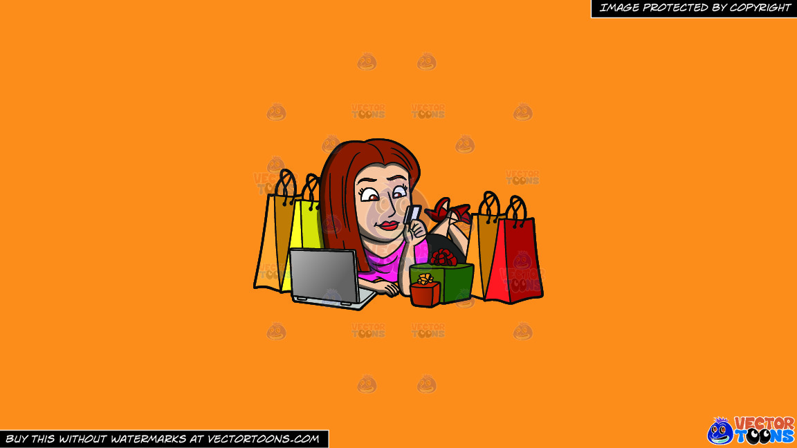 A Shopaholic Woman Doing Some More Online Shopping On A Solid Deep Saffron Gold F49d37 Background thumbnail