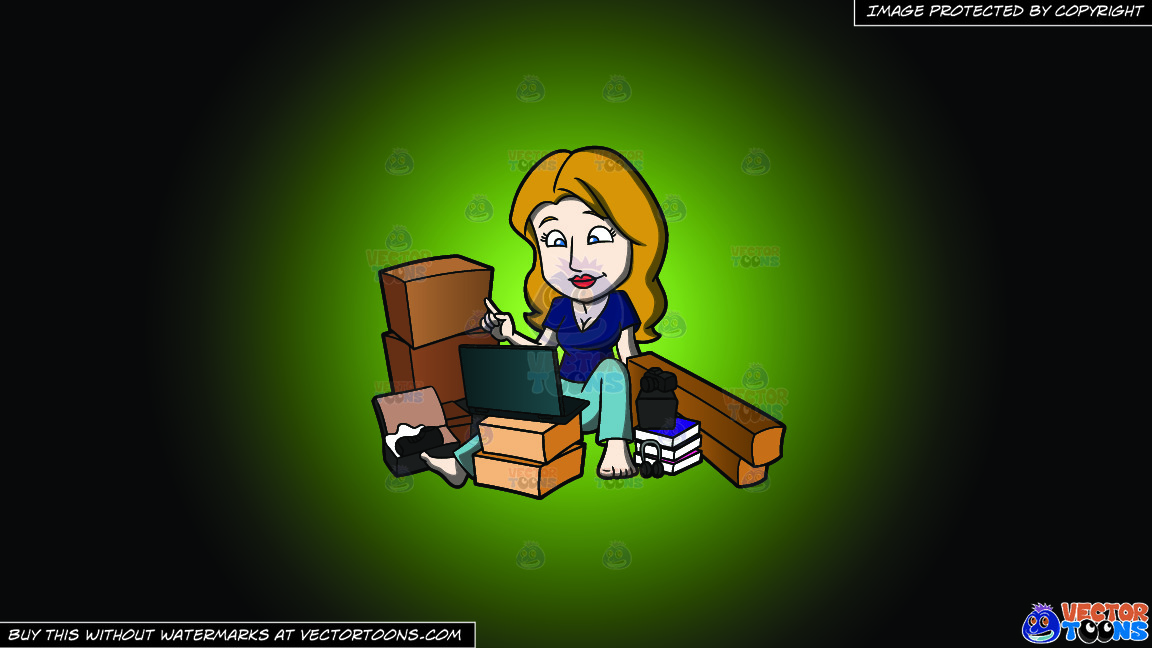 A Shopaholic Woman Hangs Around With Her Online Purchases On A Green And Black Gradient Background thumbnail