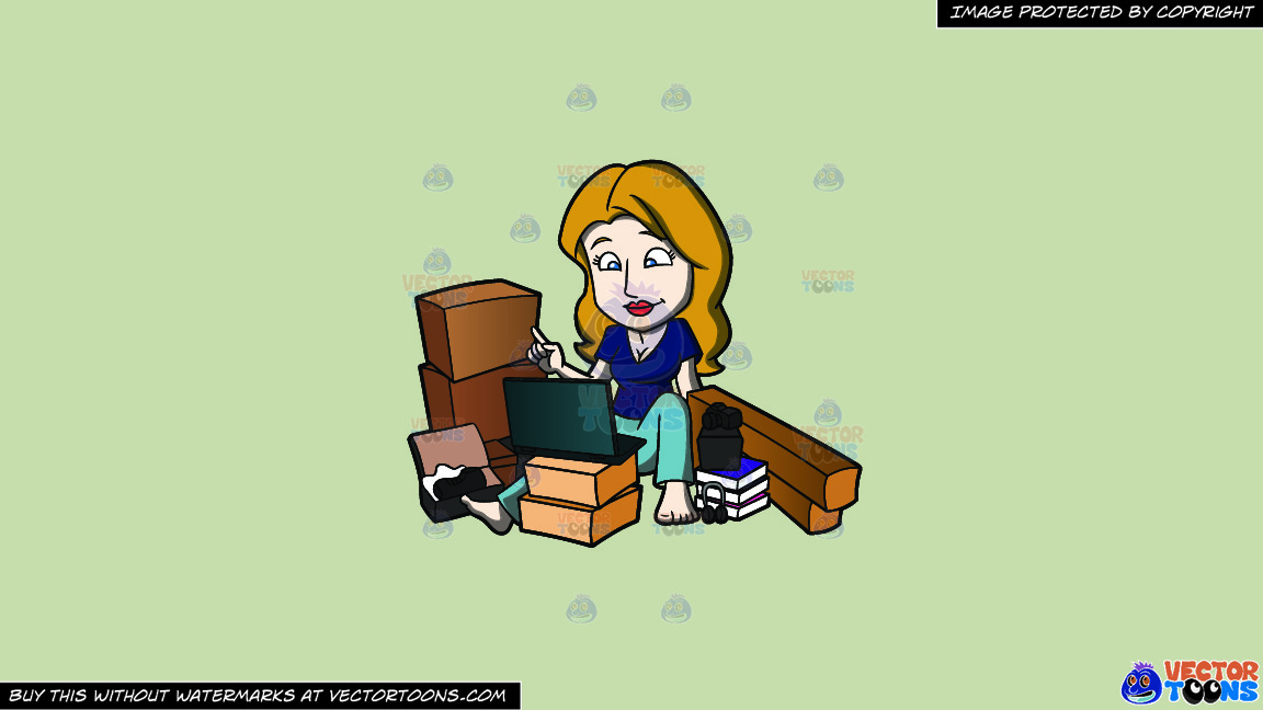A Shopaholic Woman Hangs Around With Her Online Purchases On A Solid Pale Silver C6ccb2 Background thumbnail