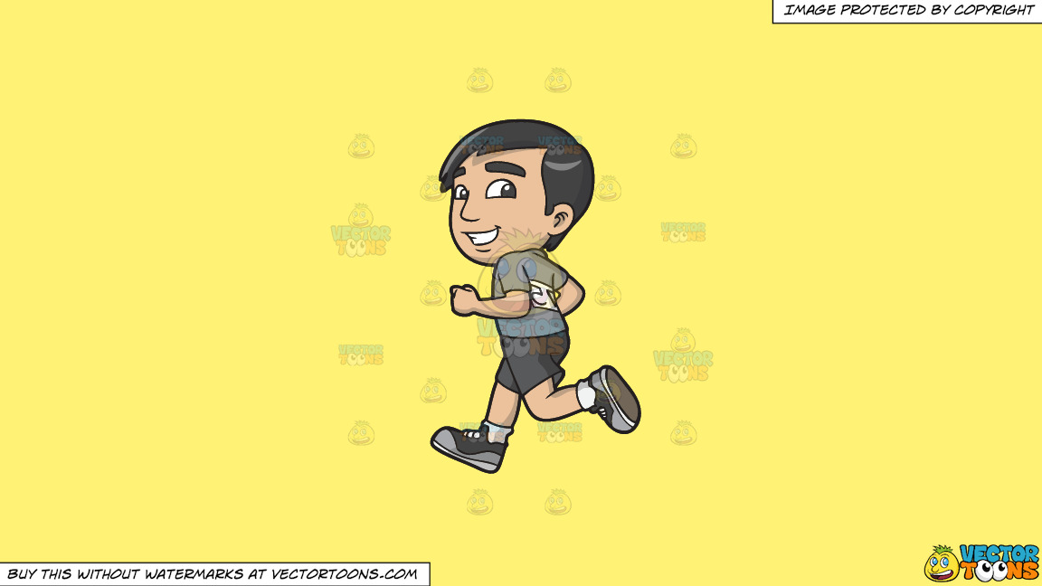 A Shy Guy Running In A Half Marathon On A Solid Sunny Yellow Fff275 Background thumbnail