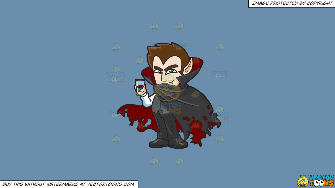 A Shy Vampire Drinking A Glass Of Blood On A Solid Shadow Blue 6c8ead Background thumbnail