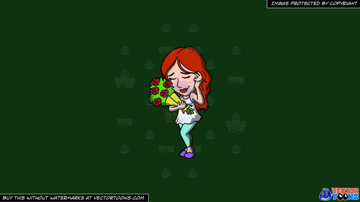 A Shy Woman With A Bouquet Of Roses On A Solid Dark Green 093824 Background thumbnail