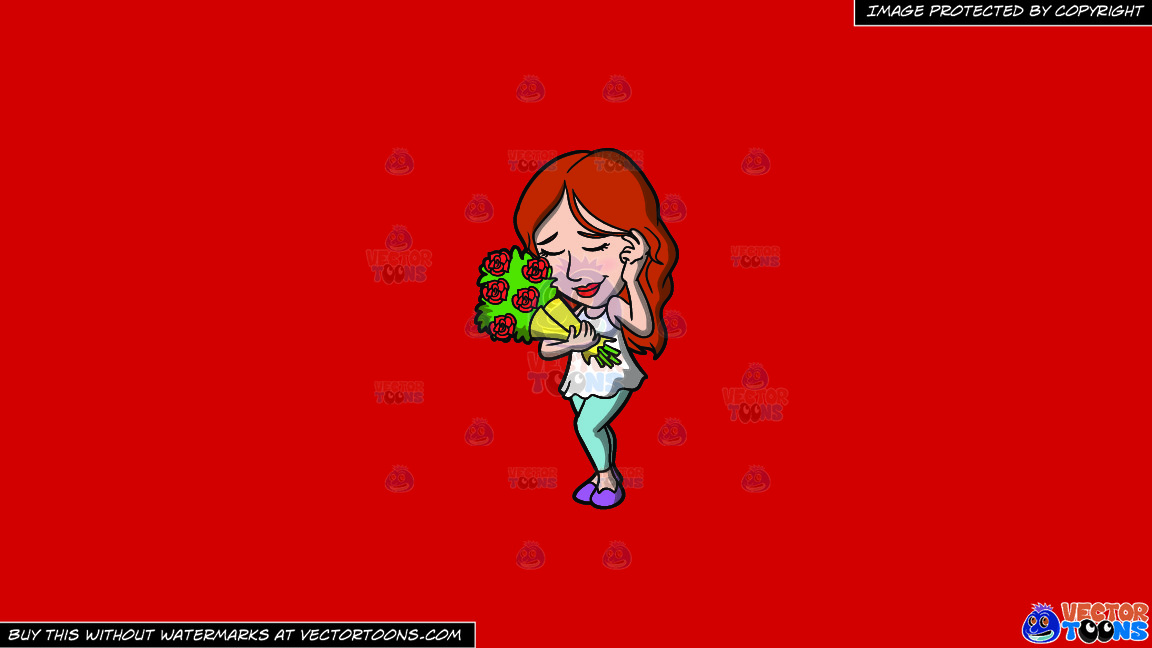 A Shy Woman With A Bouquet Of Roses On A Solid Fire Engine Red C81d25 Background thumbnail