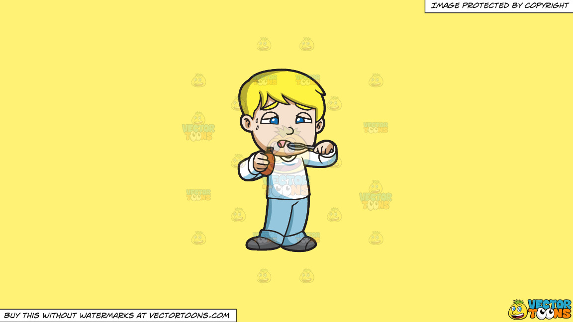 A Sick Boy Taking A Spoonful Of His Medicine On A Solid Sunny Yellow Fff275 Background thumbnail