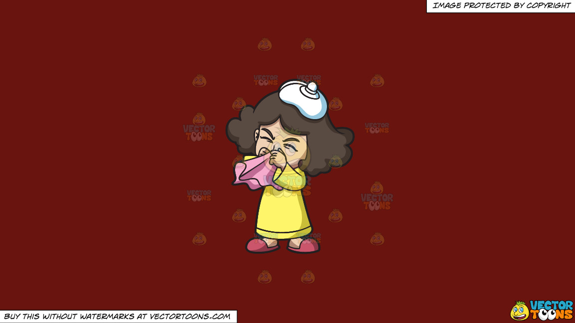 A Sick Girl With A Runny Nose On A Solid Maroon 69140e Background thumbnail