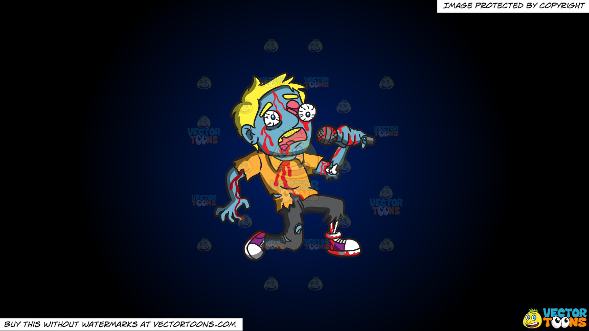 A Singing Zombie On A Dark Blue And Black Gradient Background thumbnail