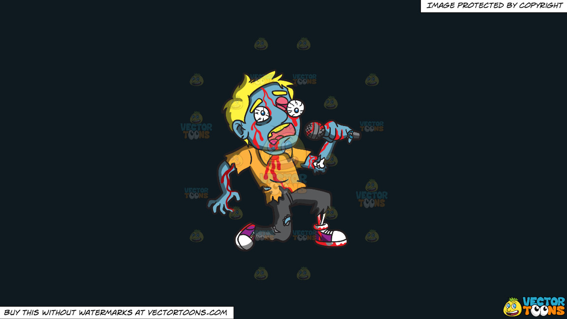 A Singing Zombie On A Solid Off Black 0f1a20 Background thumbnail