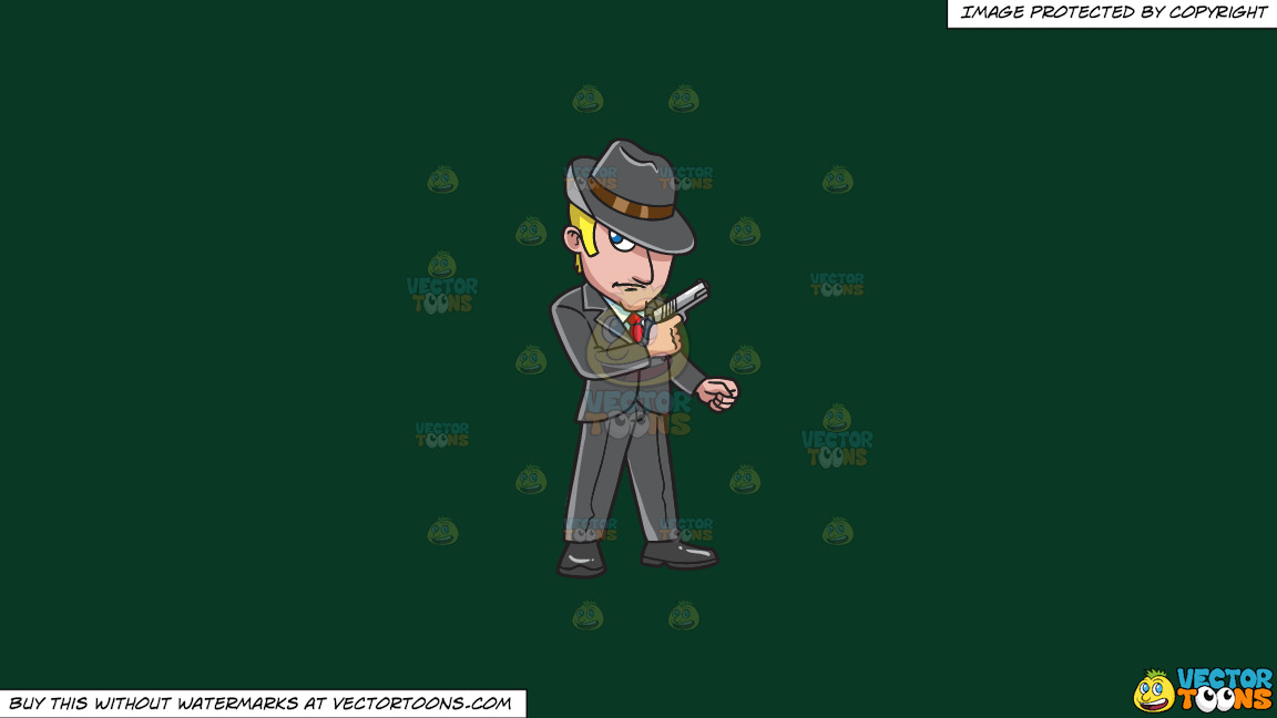 A Sleek Mob Member On A Solid Dark Green 093824 Background thumbnail