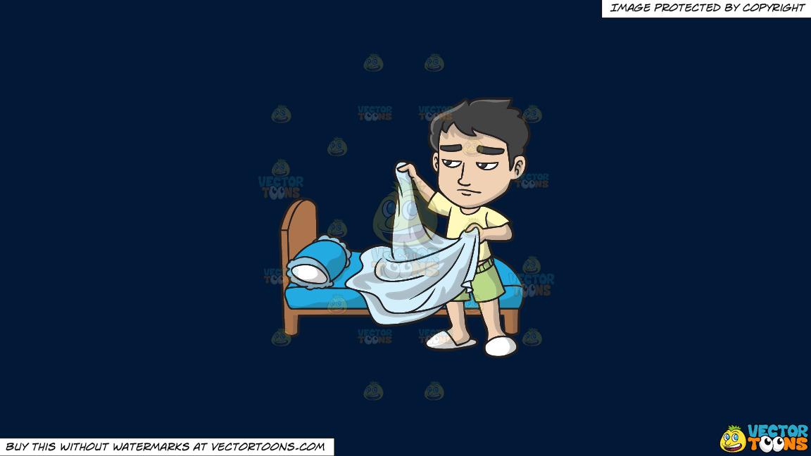 A Sleepy Man Folding His Blanket On A Solid Dark Blue 011936 Background thumbnail