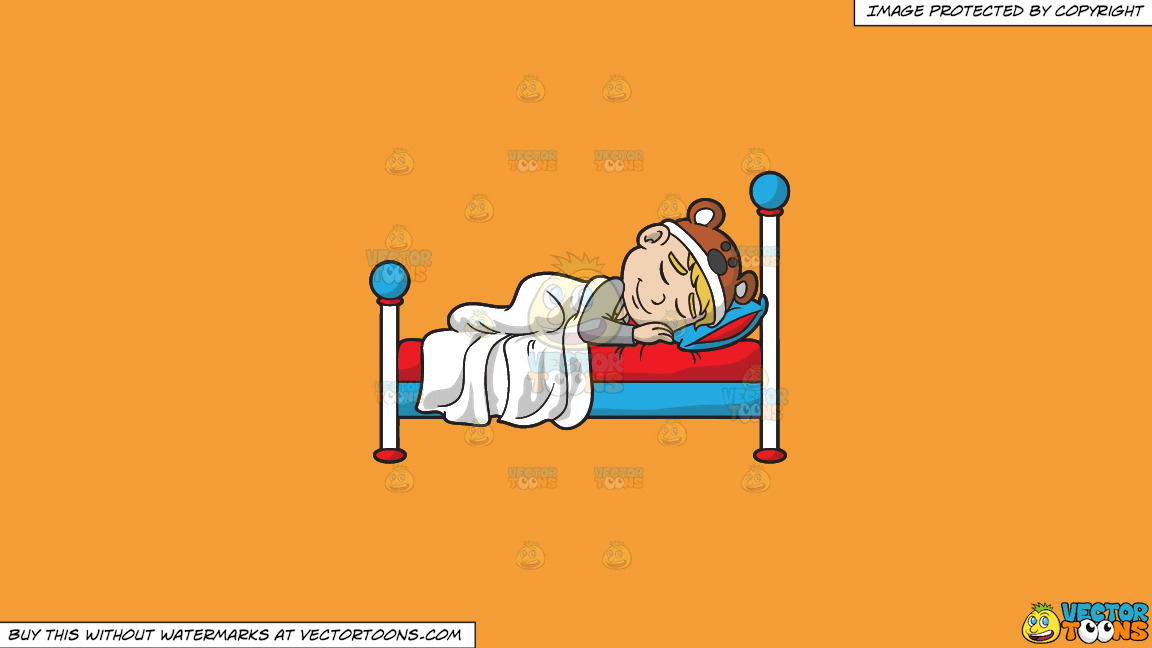A Small Boy Having A Great Sleep On A Solid Deep Saffron Gold F49d37 Background thumbnail