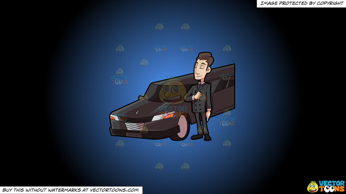 A Smart Looking Limo Driver On A Blue And Black Gradient Background thumbnail