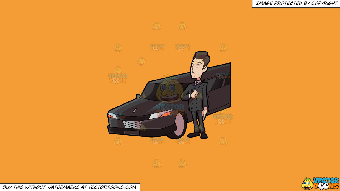 A Smart Looking Limo Driver On A Solid Deep Saffron Gold F49d37 Background thumbnail