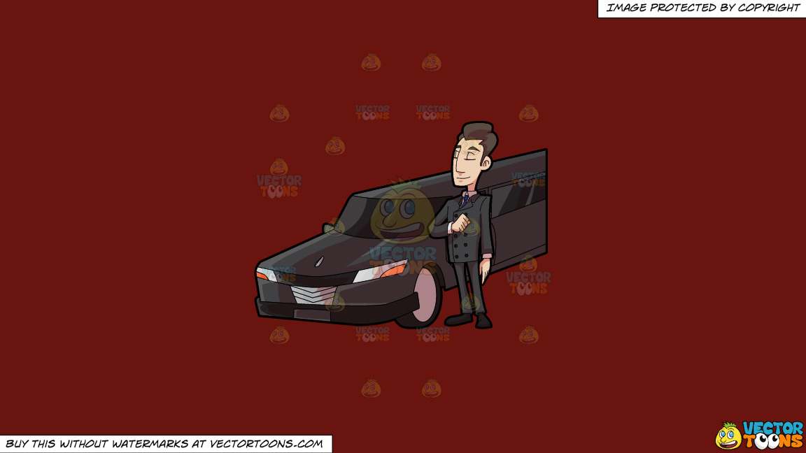 A Smart Looking Limo Driver On A Solid Maroon 69140e Background thumbnail