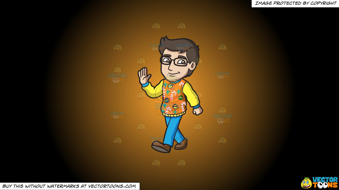 A Smart Man In An Ugly Christmas Sweater On A Orange And Black Gradient Background thumbnail