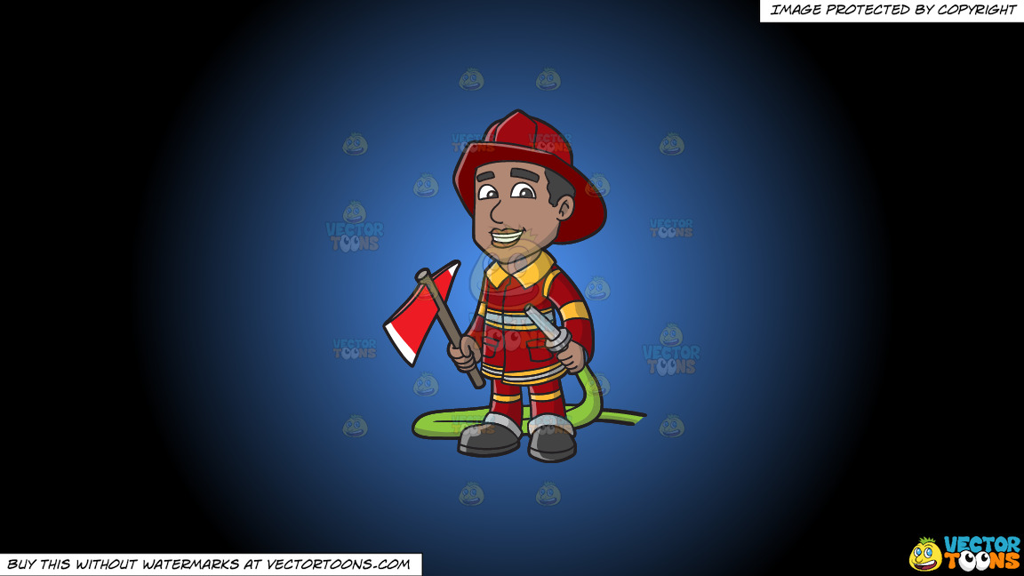 A Smiling Firefighter Holding A Fire Hose And An Ax On A Blue And Black Gradient Background thumbnail